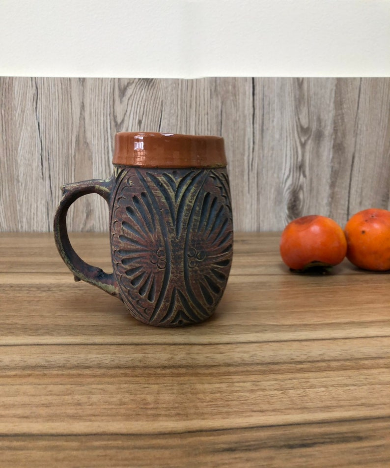 Terracotta eco clay ceramic for hot or cold drink's mug. image 0