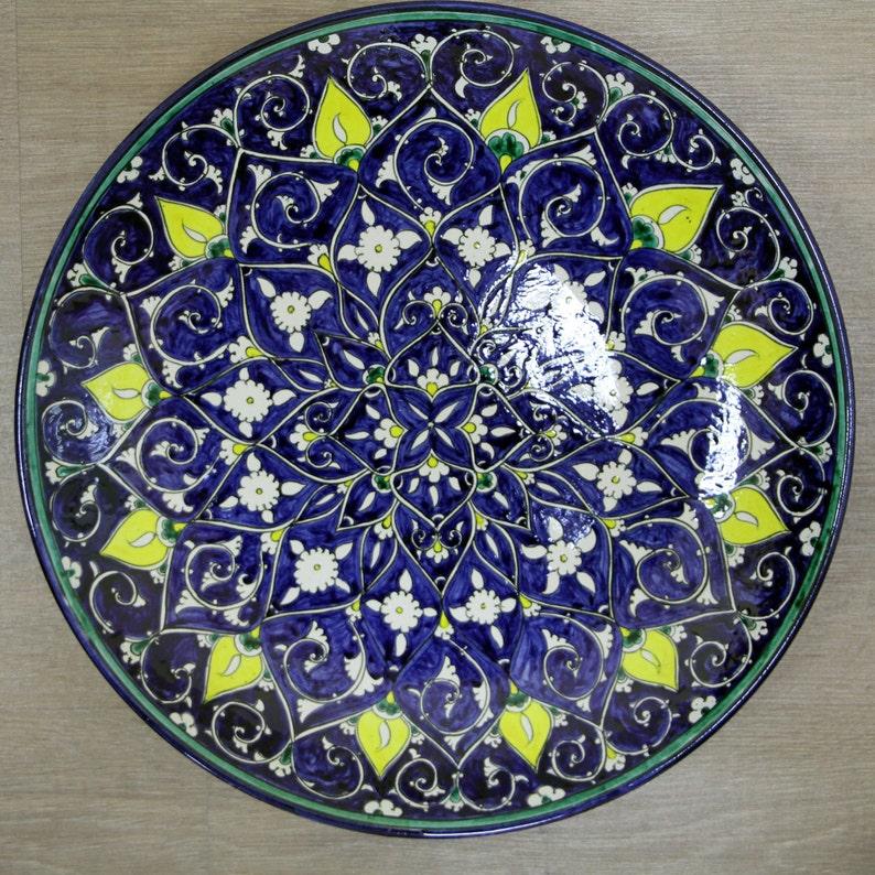 Handmade uzbek decorative ceramic plate best gift for image 0