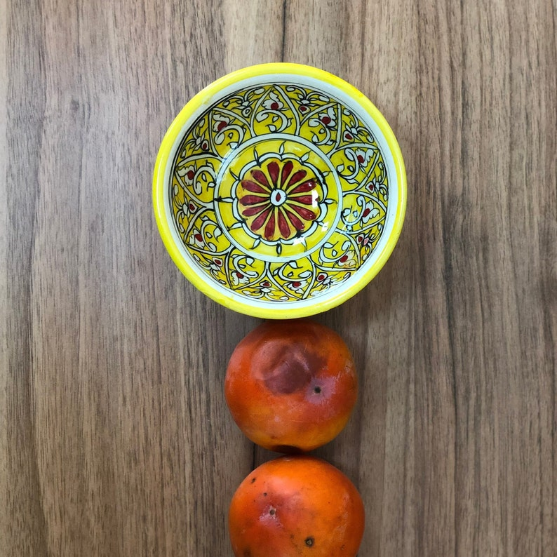 Yellow without handle cup with Uzbek oriental ornaments image 0
