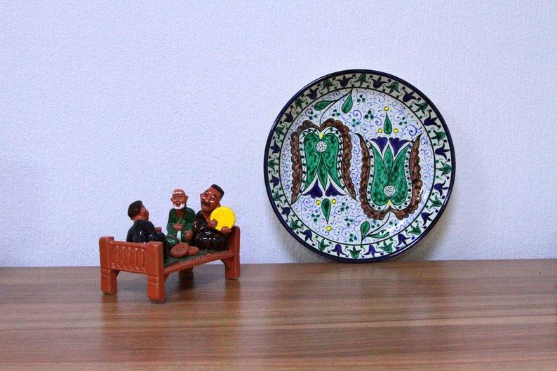 Handmade uzbek decorative ceramic plate best gift for House image 0