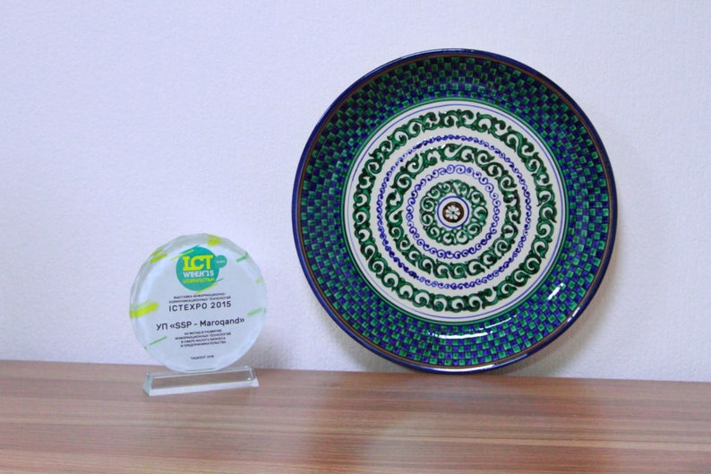 Turquoise dinnerware with mosaic square pattern plate size 36 image 0