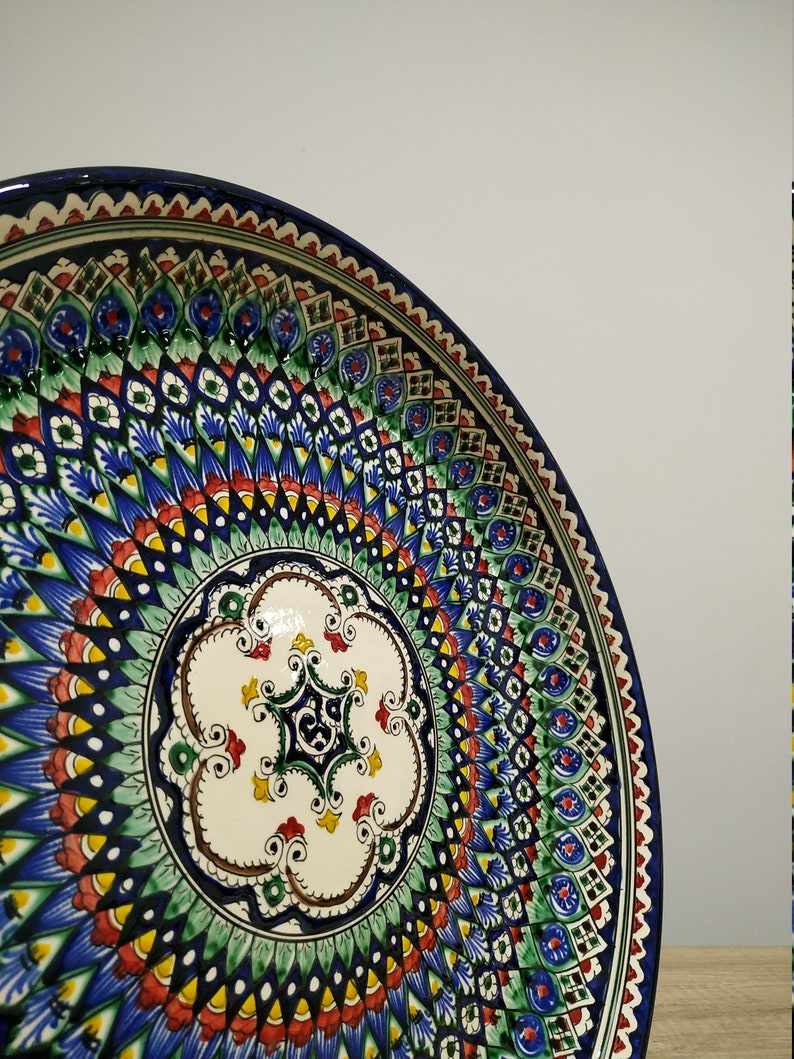 Middle ceramic plate like Mandala or Uzbek Mekhrob blue cobalt image 0