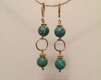 Turquoise & jasper earrings