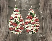 Vintage Red Truck Christmas Leather Earrings