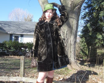 60s Mod Faux Fur Coat 1960s Dolly Teddy Bear Furry Vegan Jacket Plush Carnaby Street Peacoat Chubby Brown Mini Dress Overcoat Large