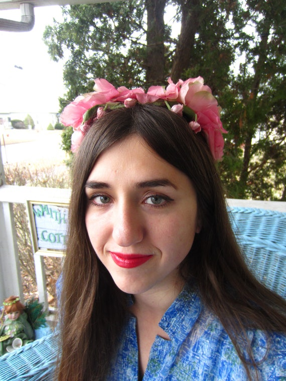 Vintage 1950's Pink Flower Fascinator/Headband/ Br