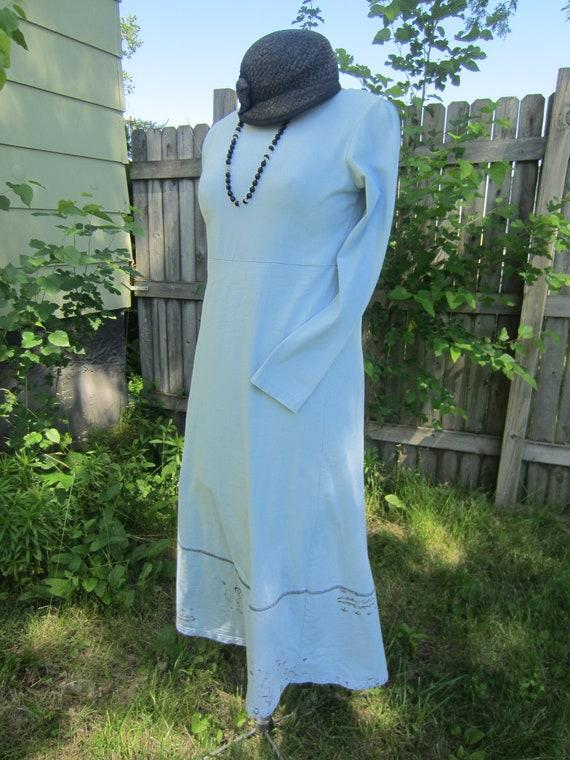 1990's 100% Cotton Baby Blue Long Sleeve Empire Wa