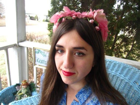 Vintage 1950's Pink Flower Fascinator/Headband/ B… - image 8
