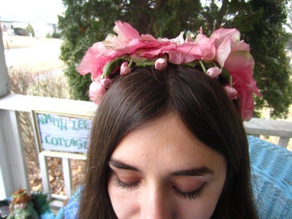 Vintage 1950's Pink Flower Fascinator/Headband/ B… - image 7