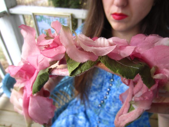 Vintage 1950's Pink Flower Fascinator/Headband/ B… - image 4