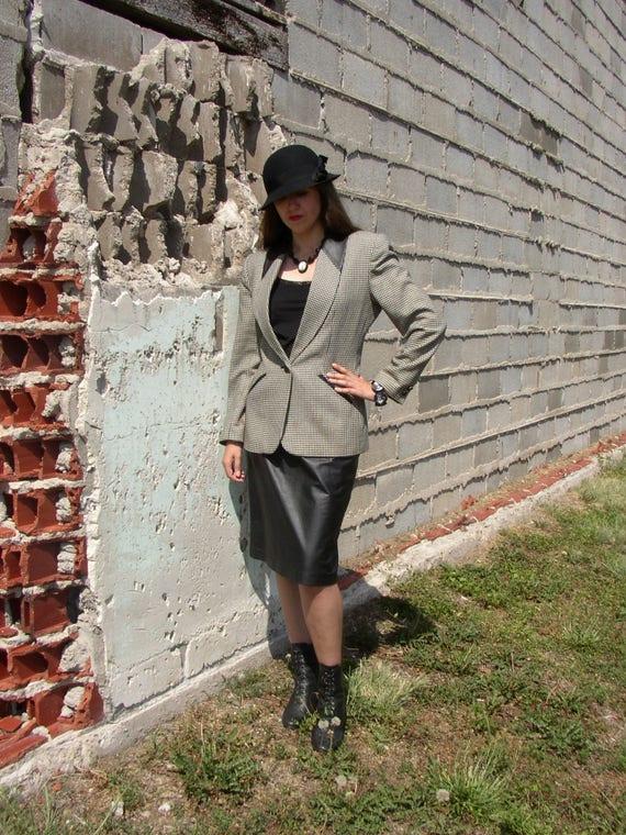 Vintage 80's /90's Power Suit/ Leather Pencil Skir