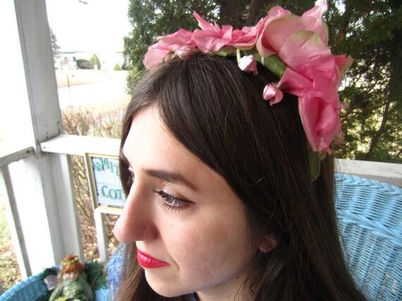 Vintage 1950's Pink Flower Fascinator/Headband/ B… - image 5