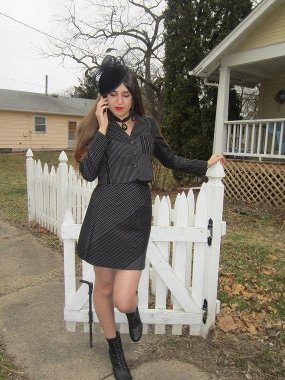 1990's 100% Silk Mini Skirt Suit Set/ Pin Stripe/
