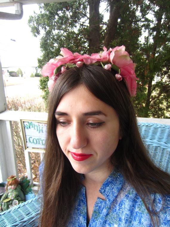 Vintage 1950's Pink Flower Fascinator/Headband/ B… - image 6
