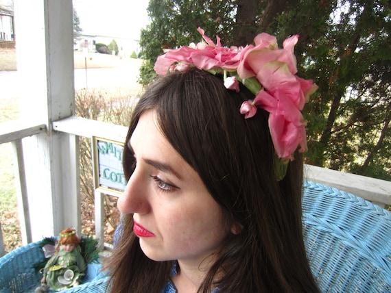 Vintage 1950's Pink Flower Fascinator/Headband/ B… - image 2