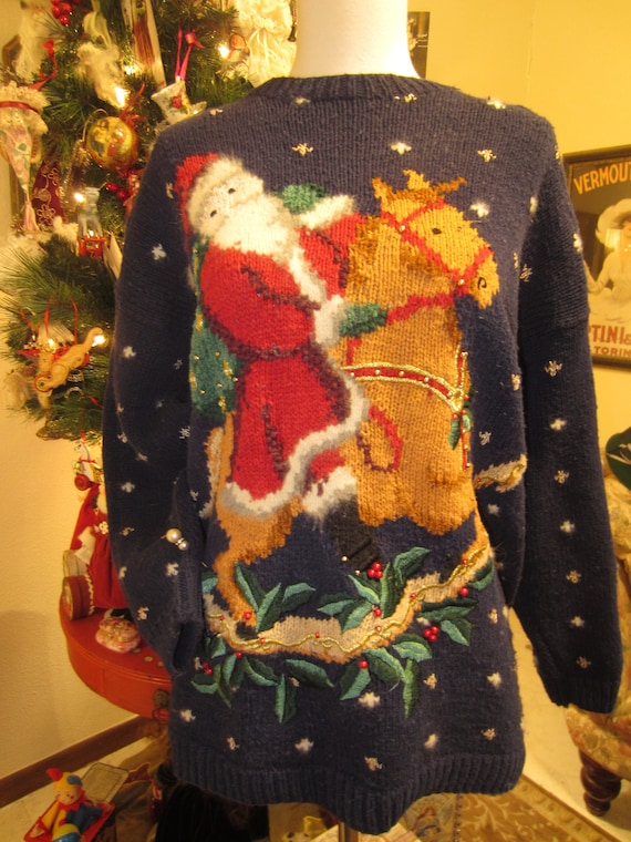 1995 Designer Christmas Sweater/ Cotton And Angora