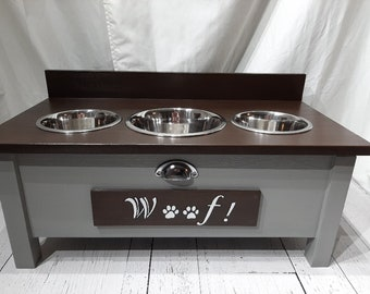 Medium 3 Bowl Floating Wood Elevated Mounted Dog Bowl Stand//Industrial Pipe//Dog//Rustic//Dog Bowls//Raised Dog Bowl Stand