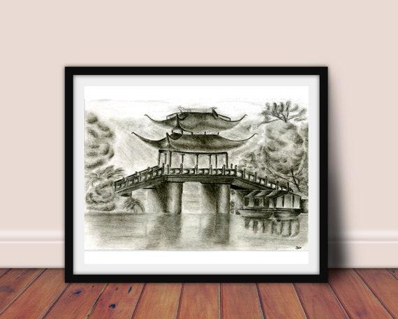 China Brücke Kunstdruck Dekoration Zuhause Schwarz Weiß | Etsy