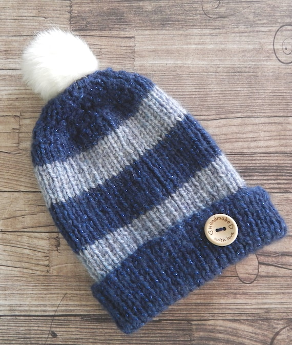 b00d133517e Knitted Baby Hat Blue Hat Baby Boy Hat Pompom Hat Winter