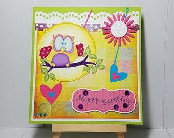 Kids birthday card, happy birthday card, owl, owl, flower, hearts, fabric, hand made