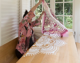 1/2 Yoga Mandala on a table, 58 by 58 centimeters