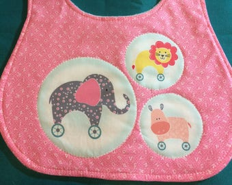 Pink Circus Animals Bib!  Elephant, Lion, Horse!  Made in a non-smoking home!!