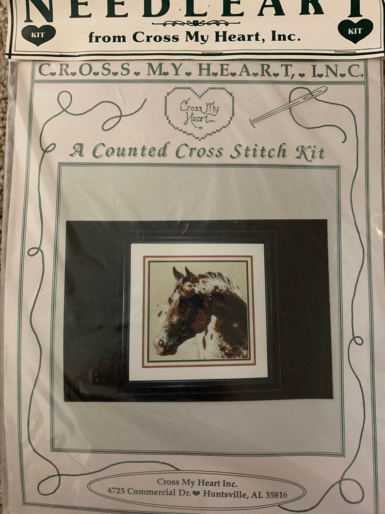 Brown and White Appaloosa Horse Head Cross Stitch Kit by Needleart! New!