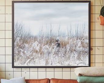 Large wall art, snow landscape, scandinavian art print, modern photography