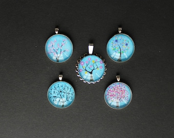 5 supports pendants with original blue /arbre 25 mm silver