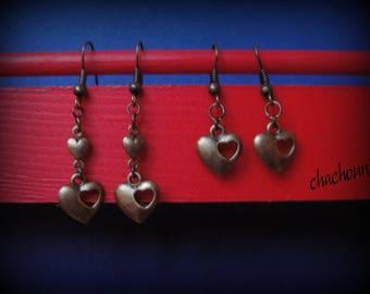 Earrings, bronze, /coeur love theme