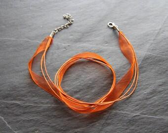Organza necklace / orange colored Nylon