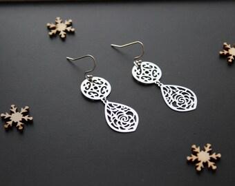 Earrings fine silver prints