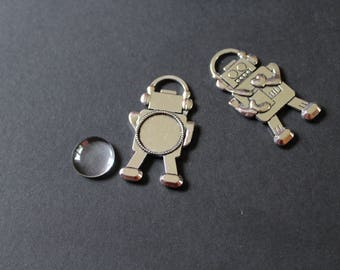 Support cabochon glass 20 mm silver robot kit 1
