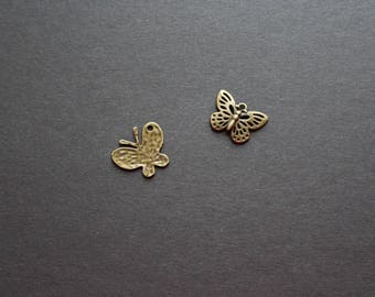 2 bronze Butterfly charms *.