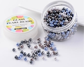 10 pearls 6 mm glass blue / gray