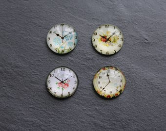 Set of 4 glass cabochons 20 mm flower clock