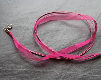 Organza necklace / Fuchsia colored Nylon