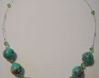 Bead, polymer clay, your dominant: green, floral theme