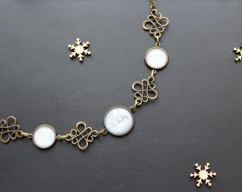 Necklace style linen, nature, glass cabochon, bronze