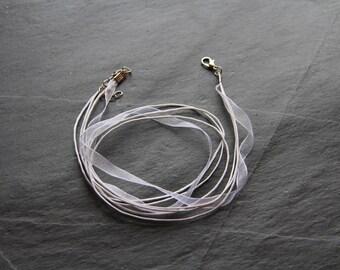Organza necklace / white colored Nylon