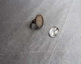 Kit ring bronze cabochon 18 x 25 mm double lace