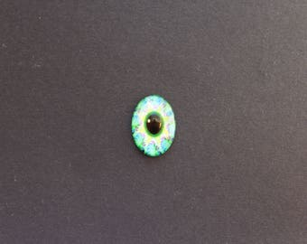 Cabochon 18 x 25 mm glass psychedelic / ethnic blue