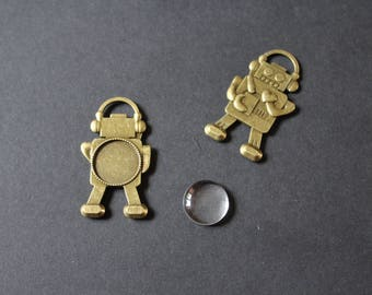 bronze Support cabochon glass 20 mm robot kit 1