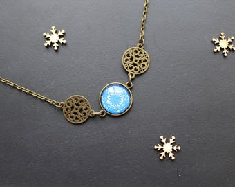 Necklace ethnic, blue flower, glass cabochon
