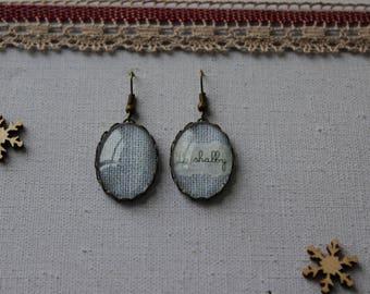 Shabby style linen oval glass cabochon earrings