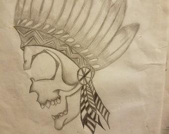 Skull feather headdress drawing pencil