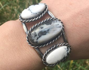 Gorgeous White Buffalo Turquoise Cuff Bracelet size S/M (5.5 in)