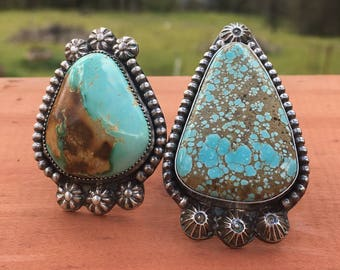 Giant Funky Royston Turquoise Statement Rings! sz. 7 & 6.75