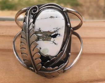 Gorgeous White Buffalo Turquoise Cuff Bracelet with leaf details size S/M (5.5 in)