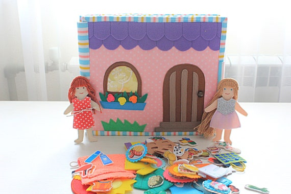 Quiet Book Dollhouse With Market And 2 Felt Dolls And Clothes Etsy